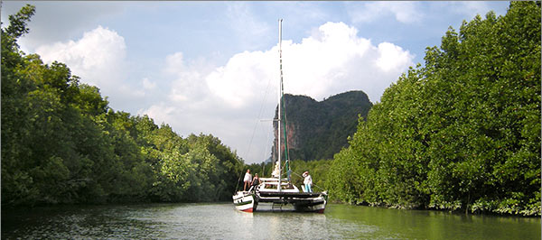 bareboat catamaran sailing charter to klong ba thaw north phang nga bay