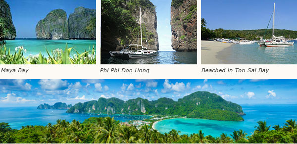 Destination Phi Phi Islands, one of the beautiful islands you can visit on a boat charter
